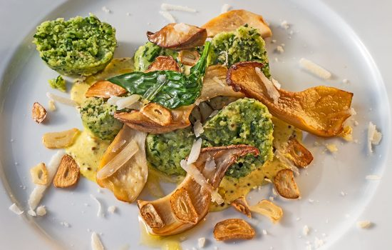 Bärlauchklößchen mit Pilzen