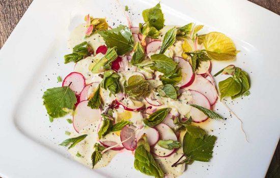Radieschensalat mit Baumblättern