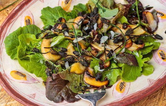 Grüner Salat mit Pilzen und Spitzwegerich