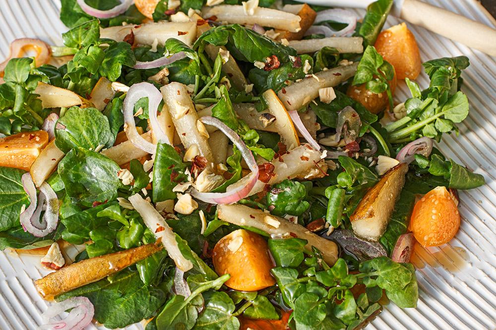 Brunnenkresse-Birnen-Salat