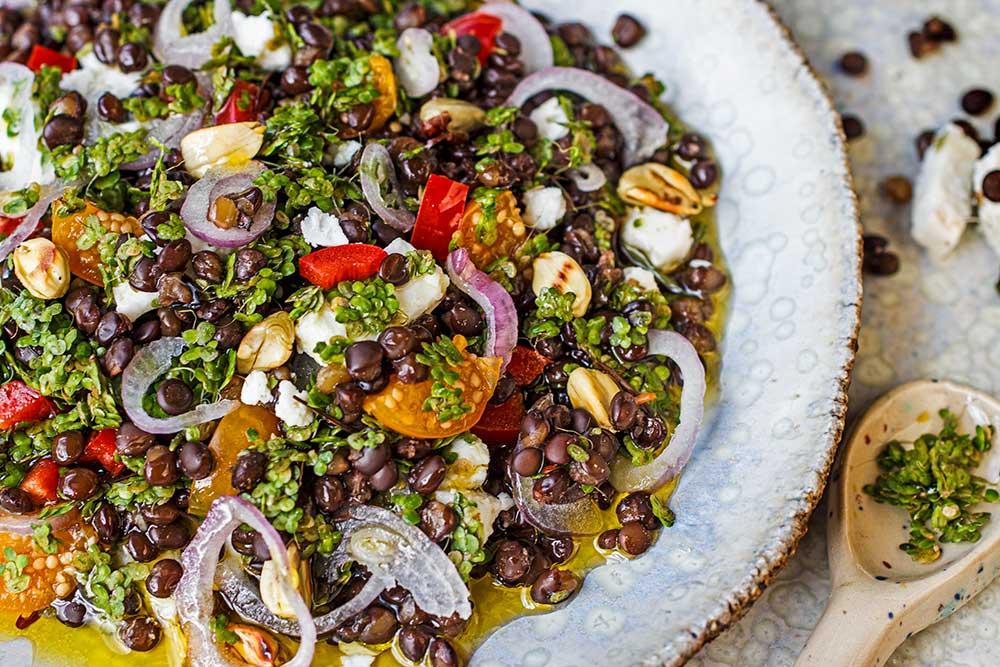 Salat aus Beluga- und Wasserlinsen