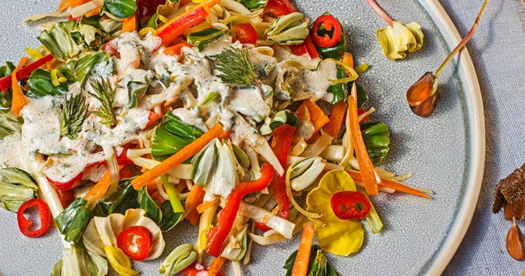 Karotten-Weißkohl-Salat mit Buchensprossen